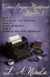 Cassie Pengear Mysteries books 1,2,3- Killing at the Carnival, Death at Dinner, Stabbing Set with Sapphires