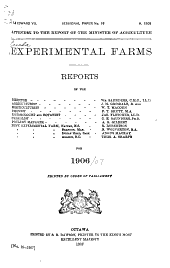 Report of the Dominion Experimental Farms ...