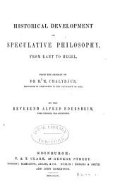 Historical development of speculative philosophy from Kant to Hegel