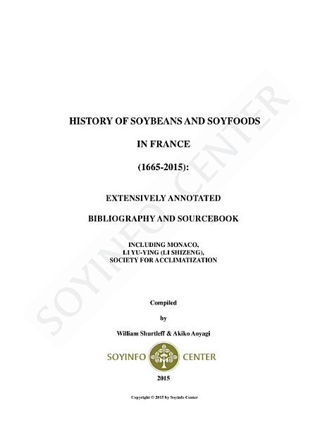 Download History of Soybeans and Soyfoods in France  1665 2015  Book