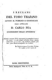 I reclami del Foro Trajano eposti al pubblico e giustificati
