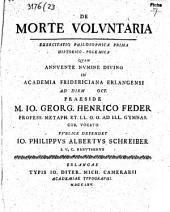 De morte volvntaria exercitatio philosophica prima historico-polemica
