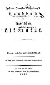 Johann Joachim Eschenburg's Handbuch der klassischen Literatur