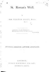St Ronan S Well By The Author Of Waverley Etc I E Sir Walter Scott Book PDF