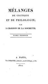 Mélanges de critique et de philologie: Volume1