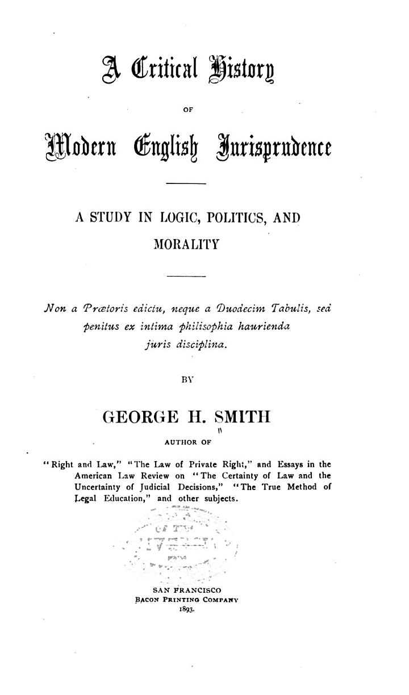 A Critical History of Modern English Jurisprudence