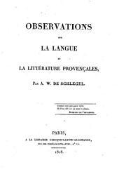 Observations sur la langue et la littérature provençales