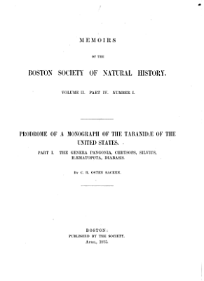 Prodrome of a Monograph of the Tabanidae of the United States PDF