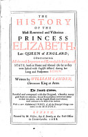 The History Of The Most Renowed and Victorious Princess Elizabeth  Late Queen of England PDF