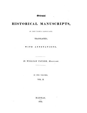 Oriental Historical Manuscripts In The Tamil Language