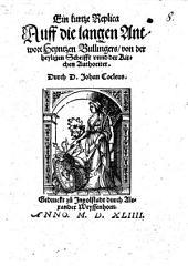 Ein kurtze Replica auff die langen Antwort Heynitzen Bullingers von der heiligen Schrifft