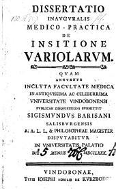 De insitione variolarum. Diss. inaug. med