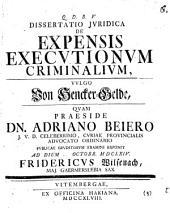 Diss. iur. de expensis executionum criminalium