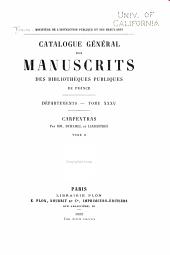 Catalogue général des manuscrits des bibliothèques publiques de France: Volume35