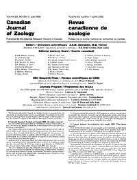 Canadian Journal of Zoology