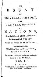 An Essay On Universal History The Manners And Spirit Of Nations Book PDF