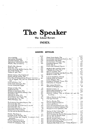 The Speaker  the Liberal Review