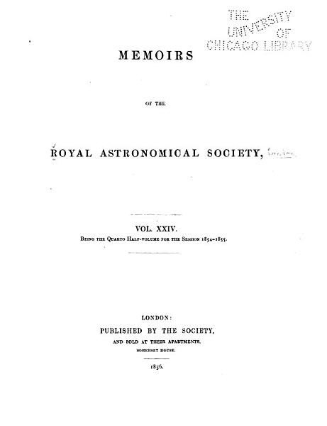 Download Memoirs of the Royal Astronomical Society Book