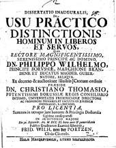 Dissertatio inauguralis de usu practico distinctionis hominum in liberos et servos