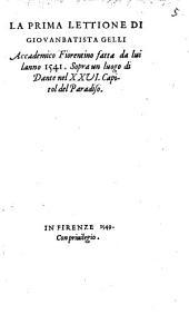 La prima lettione ... sopra un luogo di Dante nel 26. cap. del Paradiso
