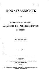 Monatsberichte der Königlichen Preussische Akademie des Wissenschaften zu Berlin