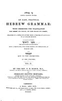 An Easy  Practical Hebrew Grammar  with Exercises for Translation    Arranged in a Series of Letters from a Teacher of Langfuages to and English Duchess PDF