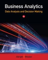 Business Analytics  Data Analysis   Decision Making PDF