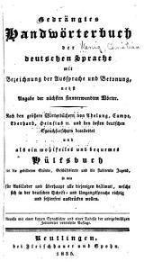 Gedrängtes handwörterbuch der deutschen sprache ...
