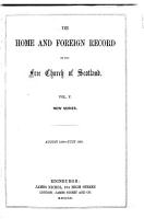 The Home and Foreign Record of the Free Church of Scotland PDF