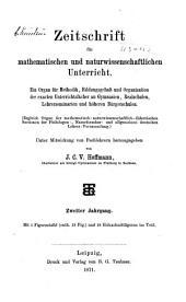 Zeitschrift für mathematischen und naturwissenschaftlichen Unterricht: Band 2