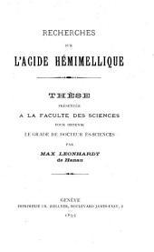Recherches sur l'acide hémimellique