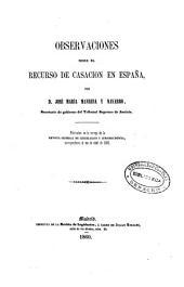 Observaciones sobre el recurso de casación en España