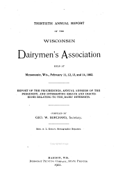 Annual Report of the Wisconsin Dairymen's Association: Issue 30