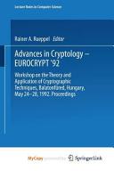 Advances in Cryptology - Eurocrypt '92