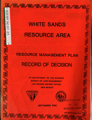 White Sands Resource Area Resource s  Management Plan  RMP