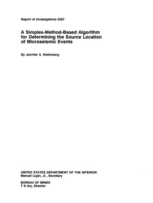 A Simplex method based Algorithm for Determining the Source Location of Microseismic Events PDF