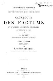 Catalogue des factums et d'autres documents judiciaires anterieurs a 1790: Supplement