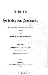 Regesten und Urkunden von 1036 bis 1605: mit vier Siegeltafeln und zwei Abbildungen, Volume 1