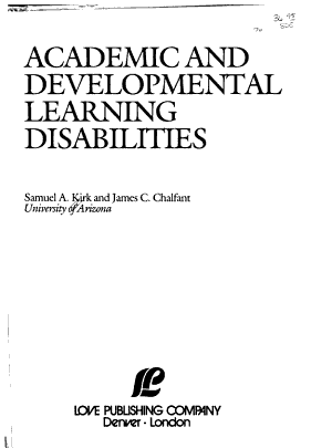 Academic and Developmental Learning Disabilities