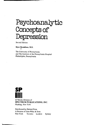 Psychoanalytic Concepts of Depression