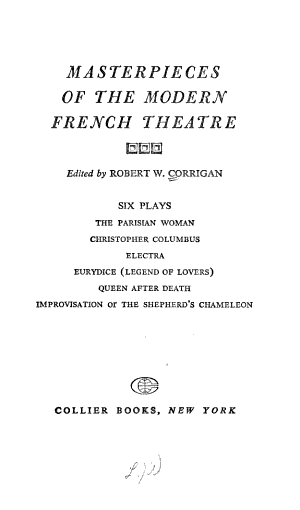 Masterpieces of the Modern French Theatre  Six Plays PDF