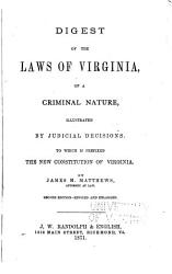 Digest of the Laws of Virginia of a Criminal Nature PDF