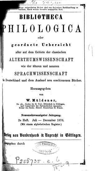 Bibliotheca philologica PDF