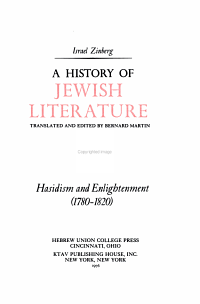 A History of Jewish Literature  Hasidism and enlightenment  1780 1820  PDF