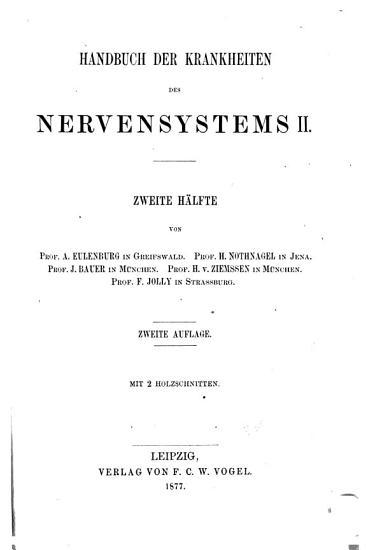 Handbuch der speciellen Pathologie und Therapie  v 12 pt 2   2nd ed   1877 PDF