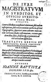 De jure magistratuum in subditos, et officio subditorum erga Magistratus: contralibellum cujusdam Caluiniani, ... aliisque remediis curanda?