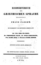 Handwörterbuch der griechischen Sprache: Band 2,Teil 2
