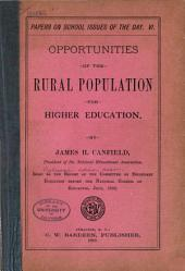 Opportunities of the Rural Population for Higher Education