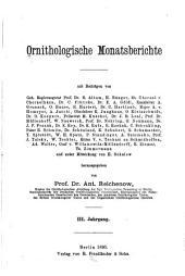 Ornithologische Monatsberichte: Bände 3-4