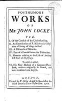 The Posthumous Works of Mr  John Locke  PDF